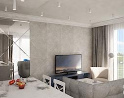 Nowojorski apartament w Lublinie - Mały szary salon z jadalnią, styl nowojorski - zdjęcie od CZYSTA FORMA