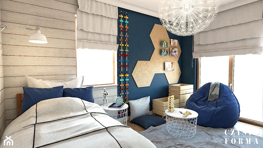 Dom w stylu Modern Farmhouse w Lublinie - Mały niebieski pokój dziecka dla chłopca dla dziewczynki dla nastolatka - zdjęcie od CZYSTA FORMA