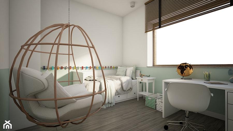 Dom w Marysinie k. Lublina - Mały biały pokój dziecka dla chłopca dla dziewczynki dla ucznia dla malucha dla nastolatka - zdjęcie od CZYSTA FORMA