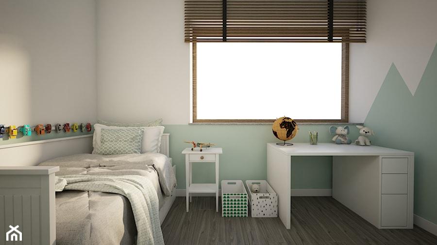 Dom w Marysinie k. Lublina - Mały biały miętowy pokój dziecka dla chłopca dla dziewczynki dla malucha - zdjęcie od CZYSTA FORMA