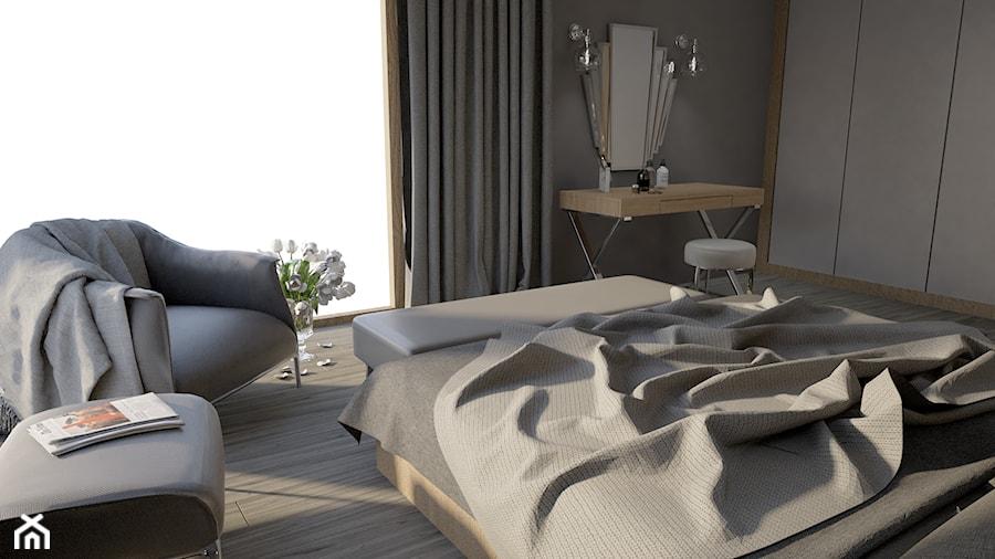 Dom w Marysinie k. Lublina - Średnia szara sypialnia małżeńska - zdjęcie od CZYSTA FORMA