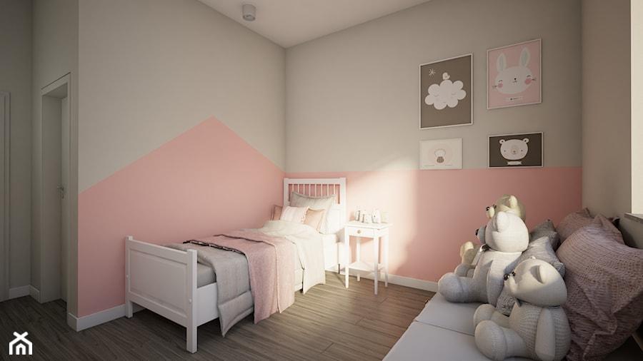 Dom w Marysinie k. Lublina - Średni biały szary pastelowy różowy pokój dziecka dla dziewczynki dla malucha - zdjęcie od CZYSTA FORMA