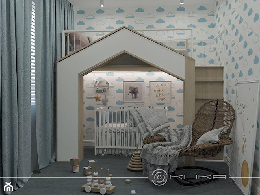 Mieszkanie, Wola - Mały biały niebieski pokój dziecka dla chłopca dla dziewczynki dla rodzeństwa dla niemowlaka dla malucha - zdjęcie od KUKA Concept