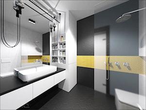 Brzeska - Średnia biała szara łazienka, styl nowoczesny - zdjęcie od Ohlala Wnętrza