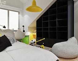KRAKÓW/POKOJE MŁODZIEŻOWE - Mały biały czarny pokój dziecka dla chłopca dla dziewczynki dla ucznia dla malucha dla nastolatka, styl nowoczesny - zdjęcie od MOYE Concept