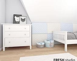 elegancki dom pod Krakowem - Mały biały szary pokój dziecka dla chłopca dla dziewczynki dla malucha dla nastolatka, styl nowoczesny - zdjęcie od FRESHstudio