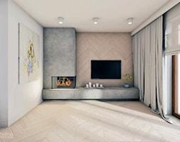 Projekt 12 - Mały szary biały salon, styl nowoczesny - zdjęcie od Maciej Różański Pracownia Projektowa