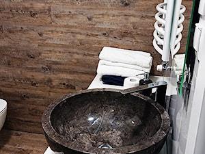 Okrągła umywalka z kamienia na blat - czarna
