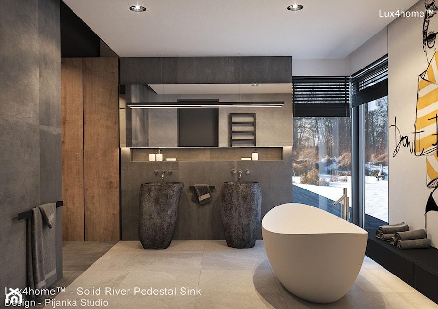 Kamienne umywalki z naturalnego kamienia polnego - rzecznego - zdjęcie od Lux4home™