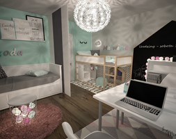 Duży szary niebieski czarny pokój dziecka dla chłopca dla dziewczynki dla rodzeństwa dla ucznia dla malucha dla nastolatka, styl skandynawski - zdjęcie od byMadeline