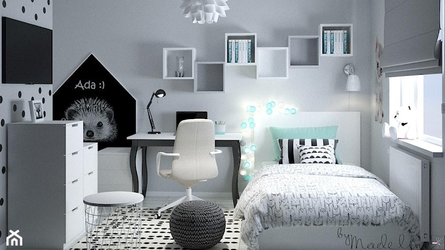 Pokój miętowy dla dziewczynki - Mały biały szary czarny pokój dziecka dla chłopca dla ucznia dla nastolatka, styl nowoczesny - zdjęcie od byMadeline