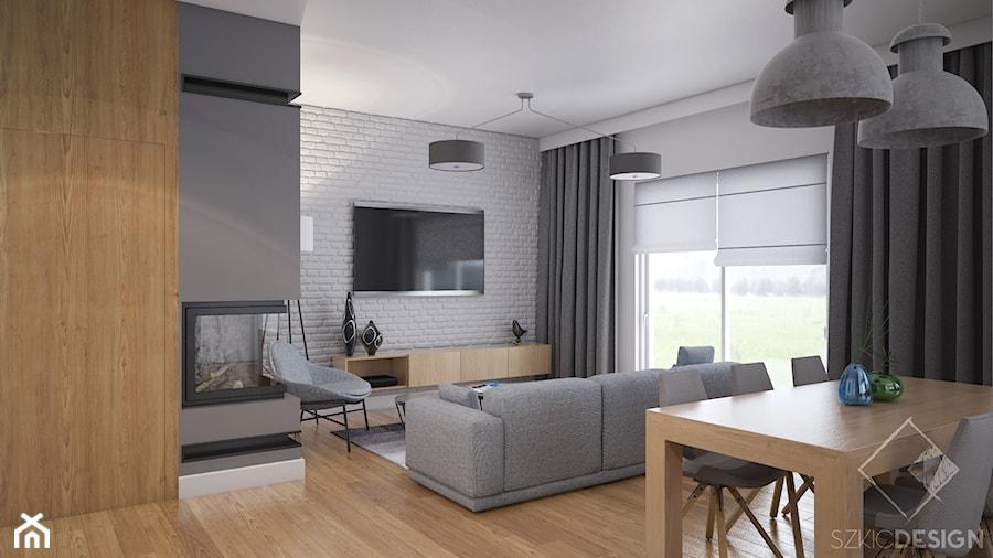 Duży dom w Warszawie - Mały szary biały salon z jadalnią, styl skandynawski - zdjęcie od Szkic Design - Projektowanie wnętrz