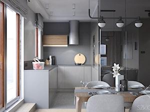 12 PIĘTER - Mała otwarta szara kuchnia w kształcie litery u w aneksie z oknem, styl nowoczesny - zdjęcie od Szkic Design - Projektowanie wnętrz