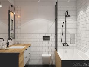 Mieszkanie w przedwojennej kamienicy - Średnia biała łazienka w bloku w domu jednorodzinnym bez okna, styl nowojorski - zdjęcie od Szkic Design - Projektowanie wnętrz
