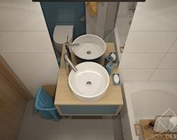Dwa pokoje - Mała łazienka w bloku w domu jednorodzinnym bez okna, styl nowoczesny - zdjęcie od Szkic Design - Projektowanie wnętrz