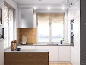 Duży dom w Warszawie - Średnia otwarta biała kuchnia w kształcie litery l z oknem, styl skandynawski - zdjęcie od Szkic Design - Projektowanie wnętrz