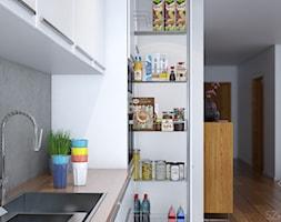 Projekt salonu z aneksem. - Mała otwarta biała kuchnia jednorzędowa z wyspą, styl nowoczesny - zdjęcie od Szkic Design - Projektowanie wnętrz