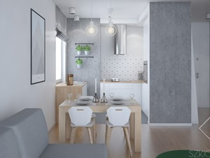 Mieszkanie w Legionowie - Mała otwarta szara kuchnia w kształcie litery u w aneksie z oknem, styl skandynawski - zdjęcie od Szkic Design - Projektowanie wnętrz