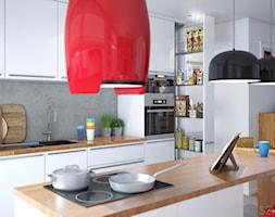 Projekt salonu z aneksem. - Średnia otwarta biała szara kuchnia w kształcie litery l z wyspą, styl nowoczesny - zdjęcie od Szkic Design - Projektowanie wnętrz