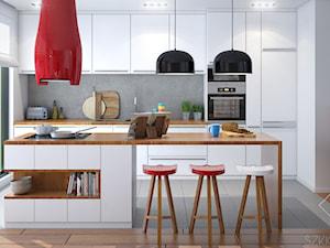 Projekt salonu z aneksem. - Średnia otwarta szara kuchnia jednorzędowa z wyspą z oknem, styl nowoczesny - zdjęcie od Szkic Design - Projektowanie wnętrz