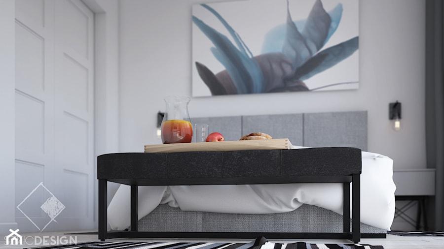 Projekt mieszkania w Płocku - Mała biała sypialnia małżeńska, styl skandynawski - zdjęcie od Szkic Design - Projektowanie wnętrz