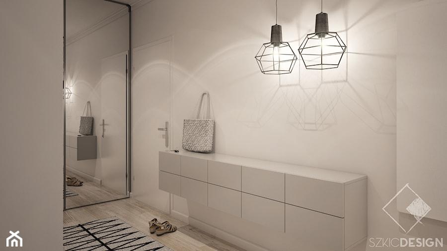 Projekt mieszkania w Płocku - Średni biały hol / przedpokój, styl nowoczesny - zdjęcie od Szkic Design - Projektowanie wnętrz