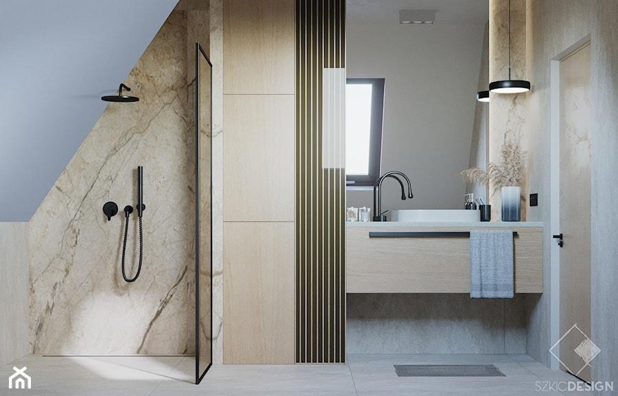 Dom w Grabinie - Łazienka, styl minimalistyczny - zdjęcie od Szkic Design - Projektowanie wnętrz