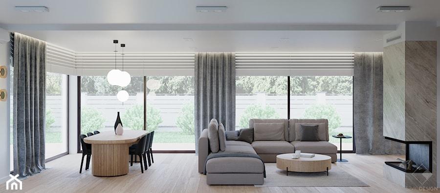 Dom w Grabinie - Salon, styl minimalistyczny - zdjęcie od Szkic Design - Projektowanie wnętrz