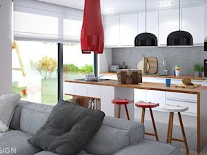 Projekt salonu z aneksem. - Średnia otwarta biała szara kuchnia dwurzędowa w aneksie z oknem, styl nowoczesny - zdjęcie od Szkic Design - Projektowanie wnętrz
