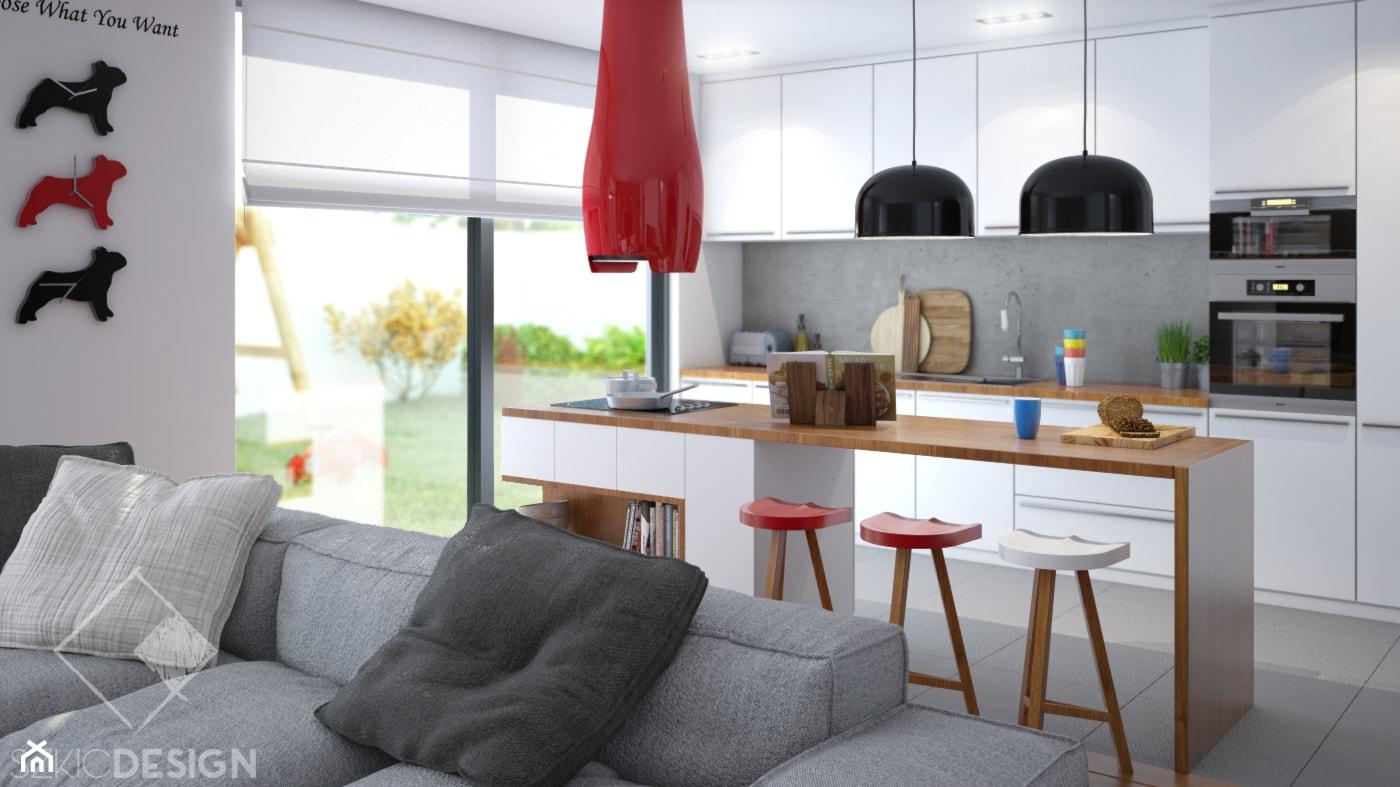 Projekt salonu z aneksem. - Średnia otwarta biała szara kuchnia dwurzędowa w aneksie z oknem, styl nowoczesny - zdjęcie od Szkic Design - Projektowanie wnętrz - Homebook