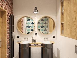 Loft w bloku - Średnia biała łazienka w bloku w domu jednorodzinnym bez okna, styl vintage - zdjęcie od Szkic Design - Projektowanie wnętrz