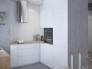 Mieszkanie w Legionowie - Mała otwarta biała kuchnia w kształcie litery u, styl skandynawski - zdjęcie od Szkic Design - Projektowanie wnętrz