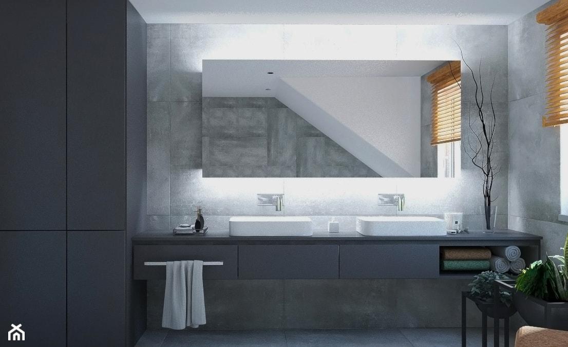 Dom w stylu nowoczesnym - Mała biała szara łazienka na poddaszu w domu jednorodzinnym z oknem, styl nowoczesny - zdjęcie od Beata Szczudrawa projektowanie wnętrz - Homebook