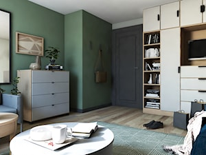 Dom w stylu nowoczesnym - Średnie zielone biuro domowe w pokoju, styl nowoczesny - zdjęcie od Beata Szczudrawa projektowanie wnętrz