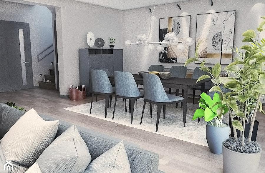 Dom w stylu nowoczesnym - Duża otwarta szara jadalnia w salonie, styl nowoczesny - zdjęcie od Beata Szczudrawa projektowanie wnętrz