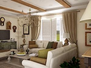 Dom z prowansalskim akcentem - Średni beżowy salon, styl prowansalski - zdjęcie od Beata Szczudrawa projektowanie wnętrz
