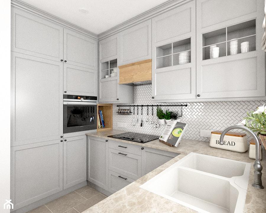 Kamienny Dom - Mała biała kuchnia w kształcie litery u z oknem, styl klasyczny - zdjęcie od Beata Szczudrawa projektowanie wnętrz