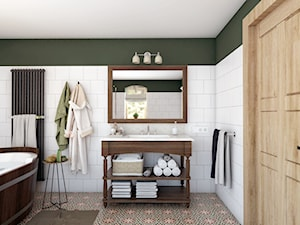 Rustykalny dom - Średnia zielona łazienka jako domowe spa z oknem, styl rustykalny - zdjęcie od Beata Szczudrawa projektowanie wnętrz