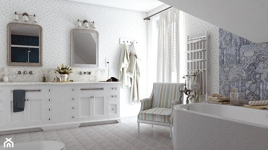 Dom z prowansalskim akcentem - Średnia łazienka na poddaszu w domu jednorodzinnym z oknem, styl prowansalski - zdjęcie od Beata Szczudrawa projektowanie wnętrz