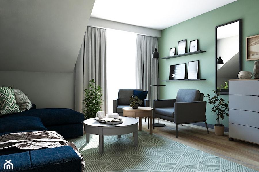 Dom w stylu nowoczesnym - Średnie szare zielone biuro domowe na poddaszu w pokoju, styl nowoczesny - zdjęcie od Beata Szczudrawa projektowanie wnętrz