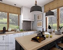 Mały dom na wsi - Średnia zamknięta szara kuchnia jednorzędowa z oknem, styl rustykalny - zdjęcie od Beata Szczudrawa projektowanie wnętrz