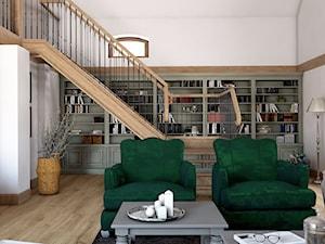 Rustykalny dom - Mały szary salon z bibiloteczką z antresolą, styl rustykalny - zdjęcie od Beata Szczudrawa projektowanie wnętrz