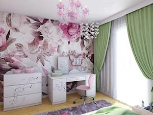 Dom w Leśnej - Mały szary różowy pokój dziecka dla dziewczynki dla ucznia dla malucha dla nastolatka, styl nowoczesny - zdjęcie od Beata Szczudrawa projektowanie wnętrz