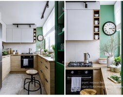 Mieszkanie w bloku dla kobiety - Mała zamknięta biała zielona kuchnia w kształcie litery u z oknem, styl eklektyczny - zdjęcie od Beata Szczudrawa projektowanie wnętrz