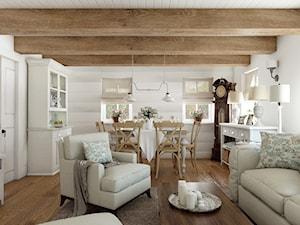 Rustykalny dom pod Zittau - Średni biały salon z jadalnią, styl rustykalny - zdjęcie od Beata Szczudrawa projektowanie wnętrz