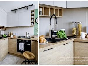 Mieszkanie w bloku dla kobiety - Mała zamknięta biała kuchnia w kształcie litery u, styl eklektyczny - zdjęcie od Beata Szczudrawa projektowanie wnętrz
