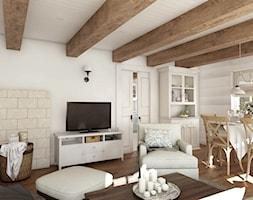 Rustykalny dom pod Zittau - Średni beżowy salon z jadalnią, styl rustykalny - zdjęcie od Beata Szczudrawa projektowanie wnętrz