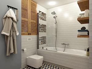 Mieszkanie w zabudowie bliźniaczej - Wrocław - Średnia biała szara łazienka bez okna, styl eklektyczny - zdjęcie od Beata Szczudrawa projektowanie wnętrz