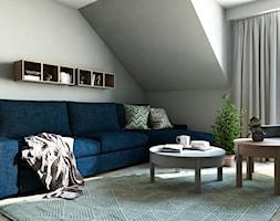 Dom w stylu nowoczesnym - Małe szare biuro domowe na poddaszu w pokoju, styl nowoczesny - zdjęcie od Beata Szczudrawa projektowanie wnętrz