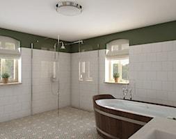 Rustykalny dom - Średnia biała zielona łazienka na poddaszu w bloku w domu jednorodzinnym z oknem, styl rustykalny - zdjęcie od Beata Szczudrawa projektowanie wnętrz